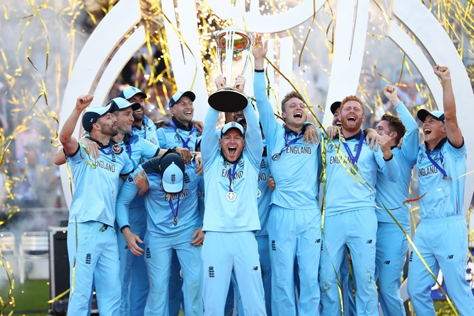 England's players celebrate after clinching victory in the Super Over of the World Cup final at Lord's on Sunday.