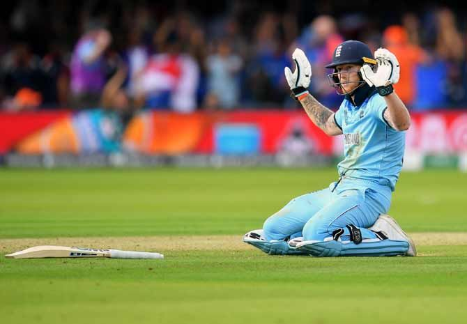 Ben Stokes reacts after diving to make his crease as the throw from the deep ricocheted off the all-rounder's bat and flew to the boundary for a total of six overthrows