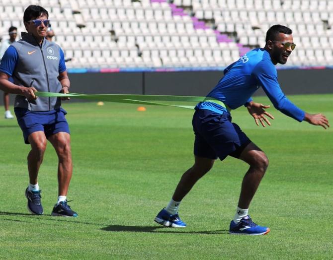 Hardik Pandya at a training session on Monday