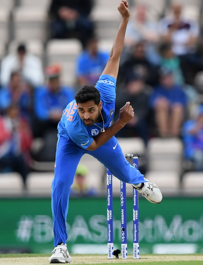 Bhuvneshwar Kumar bowls during India's game against South Africa at The Hampshire Bowl on June 5, 2019