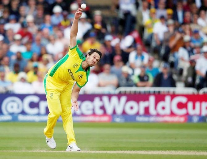 Australia's Nathan Coulter-Nile in action against the West Indies during the World Cup match, at Trent Bridge, Nottingham