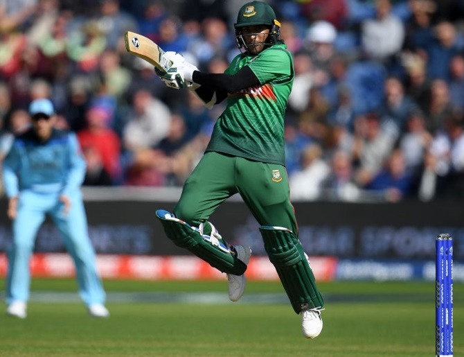 Shakib Al Hasan bats during the match against England on Saturday