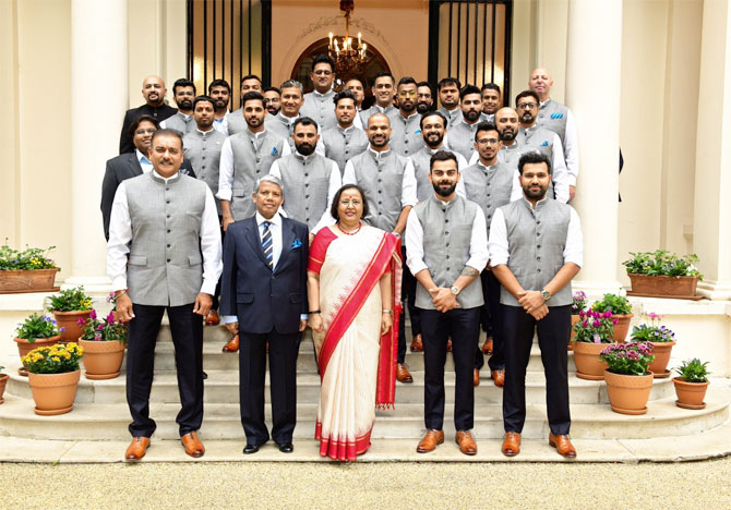 The Indian cricket team with the Indian High Commissioner to UK Ruchi Ghanashyam on Friday