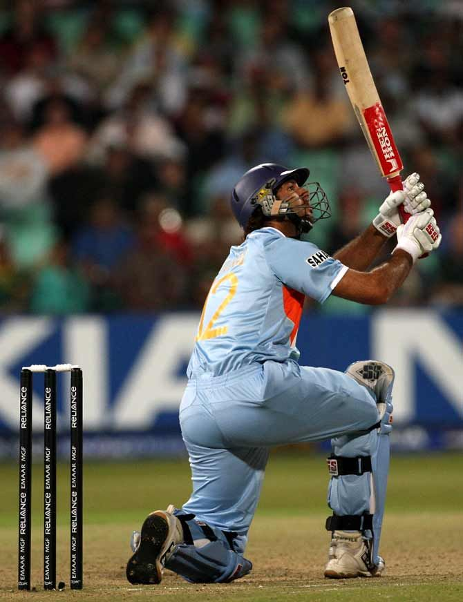 Yuvraj Singh hit six sixes in a single over off Stuart Broad during the ICC Twenty20 World Championship Super Eights game against England in Durban, September 19, 2007