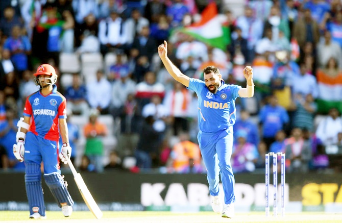 Mohammed Shami celebrates his hat-trick against Afghanistan in the World Cup