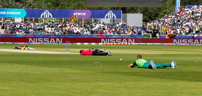The umpire, Sri Lanka and South Africa players lie on the ground to avoid bees during their match at Chester-le-Street in Durham on June 28