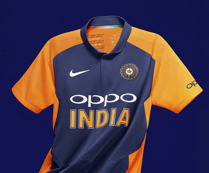 Team India's new 'away' orange and blue jersey