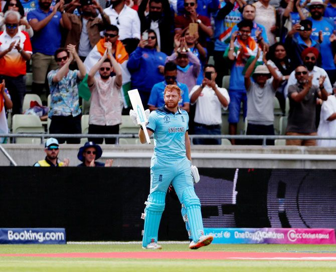 England opener Jonny Bairstow celebrates on completing his century against India at Edgbaston in Birmingham, on Sunday