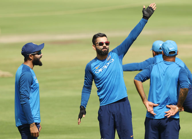 India captain Virat Kohli trains with teammates ahead of the first One Day International against Australia at Rajiv Gandhi International Cricket Stadium in Hyderabad on Friday
