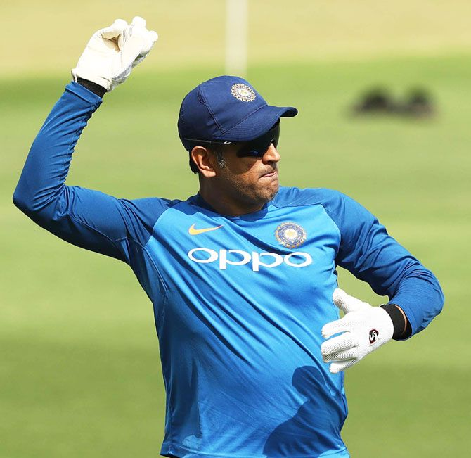 India's MS Dhoni during a training session in Hyderabad on Friday