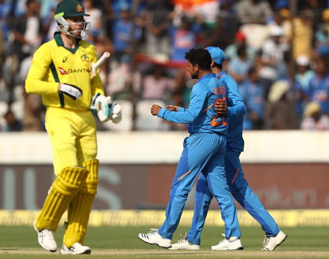 Kuldeep Yadav picked two wickets in the first ODI against Australia in Hyderabad