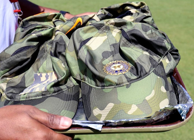 The camouflage military cap sported by the Indian players during the Ranchi ODI