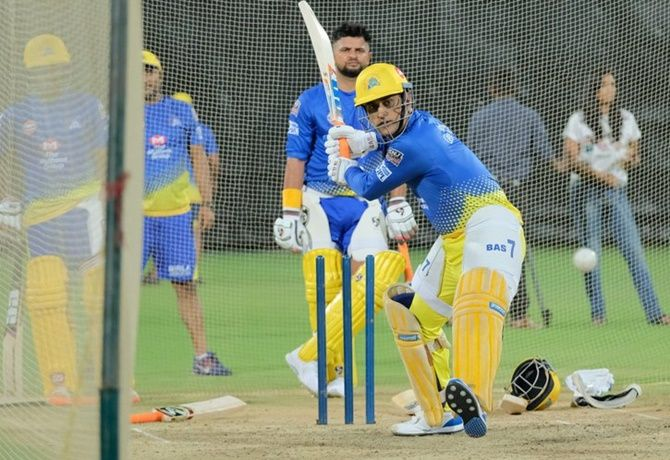 Mahendra Singh Dhoni at a nets session in preparation for IPL