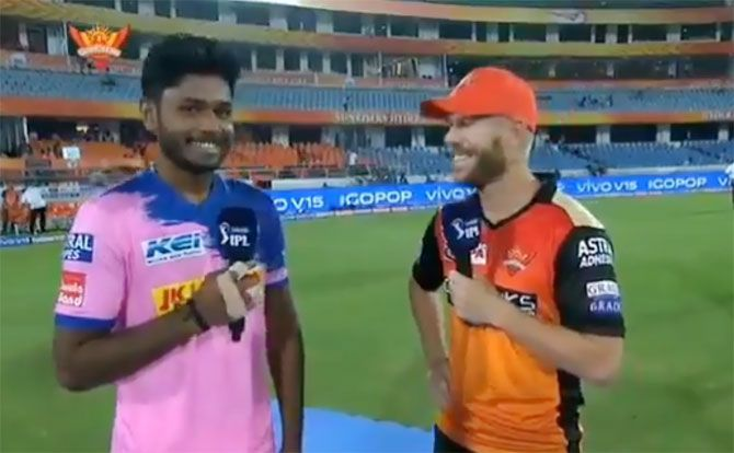 Rajasthan Royals' Sanju Samson and Sunrisers Hyderabad's David Warner chat after their Indian Premier League match on Friday