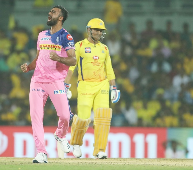 Jaidev Unadkat celebrates after dismissing Suresh Raina