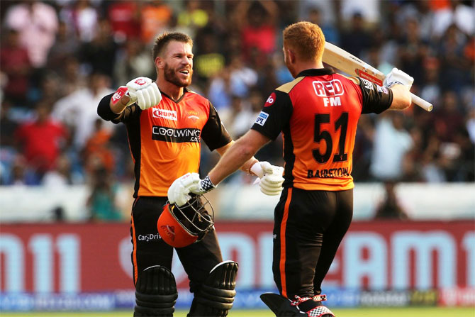 Sunrisers stars David Warner and Jonny Bairstow celebrate the Englishman's century against the Royal Challengers Bangalore in Hyderabad, March 31, 2019. Photograph: IPL/Twitter