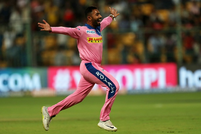 Rajasthan Royals' Shreyas Gopal celebrates after dismissing Royal Challengers Bangalore's Marcus Stoinis and completing a hat-trick