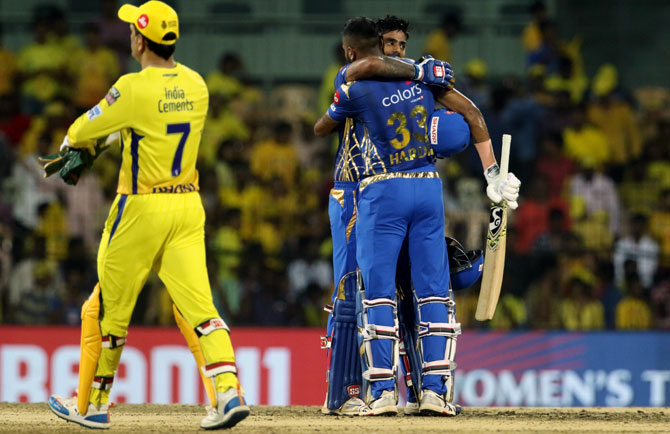 Suryakumar Yadav and Hardik Pandya celebrate after clinching victory