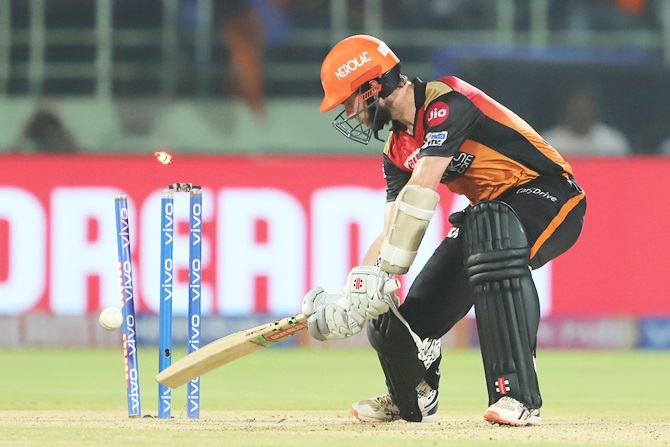 Sunrisers Hyderabad captain Kane Williamson is bowled by Ishant Sharma.