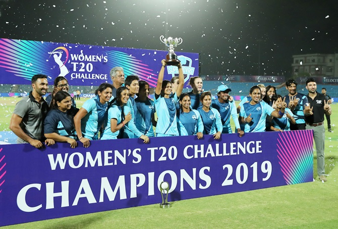 Team Supernova celebrates with the Women's T20 Challenge trophy