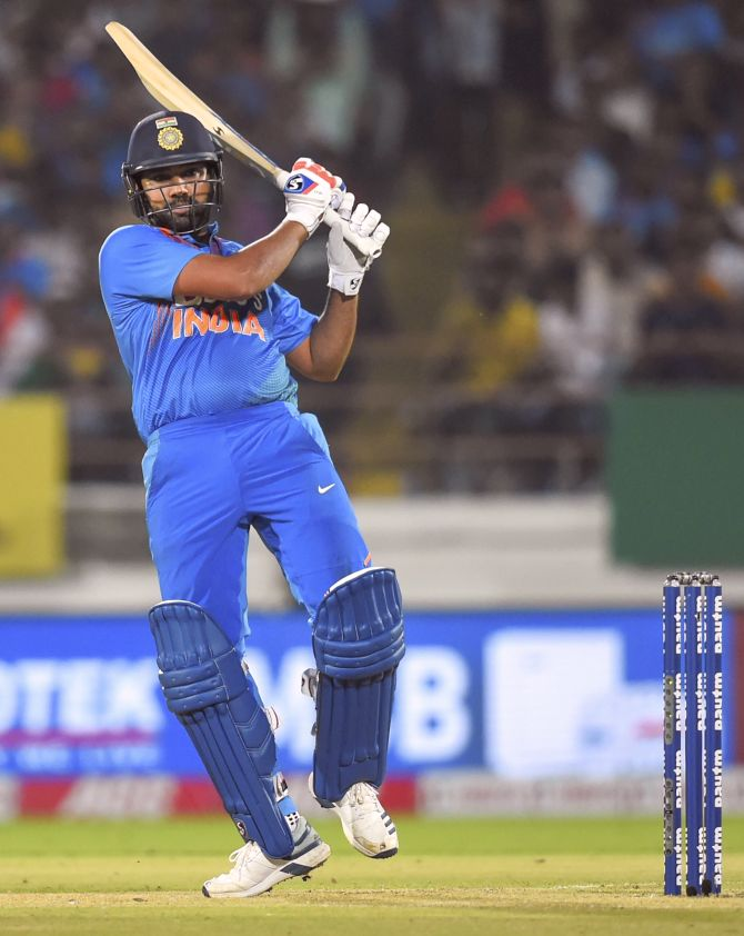 Rohit Sharma plays a shot during his whirlwind knock of 85 in the 2nd T20I against Bangladesh in Rajkot on Thursday