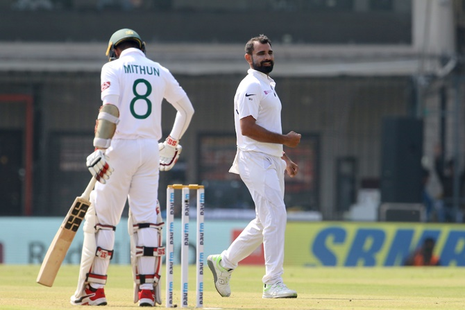 Mohammed Shami reacts after trapping Mohammad Mithun leg before wicket.