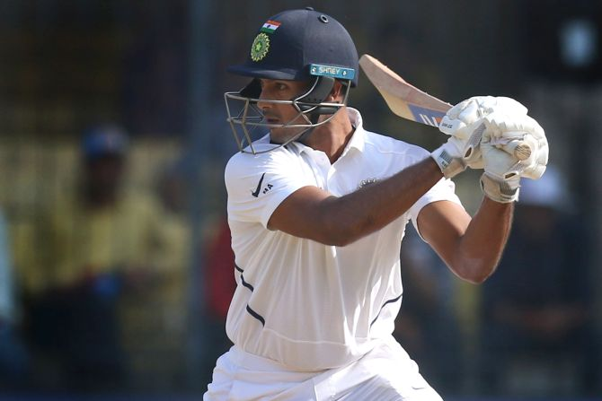 Mayank Agarwal bats en route his double century on Day 2 of the 1st Test in Indore on Friday