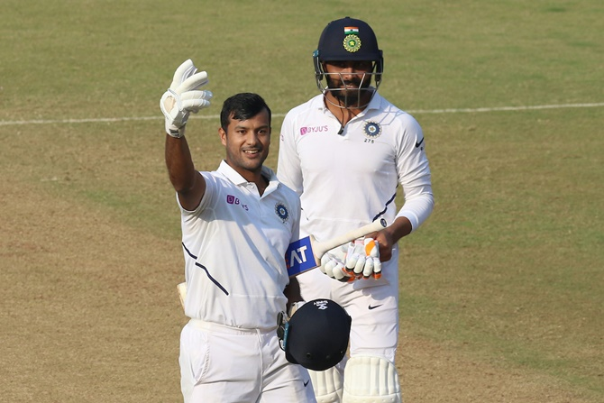 Mayank Agarwal celebrates after registering his second double hundred on Friday, Day 2 of the first Test against Bangladesh in Indore.