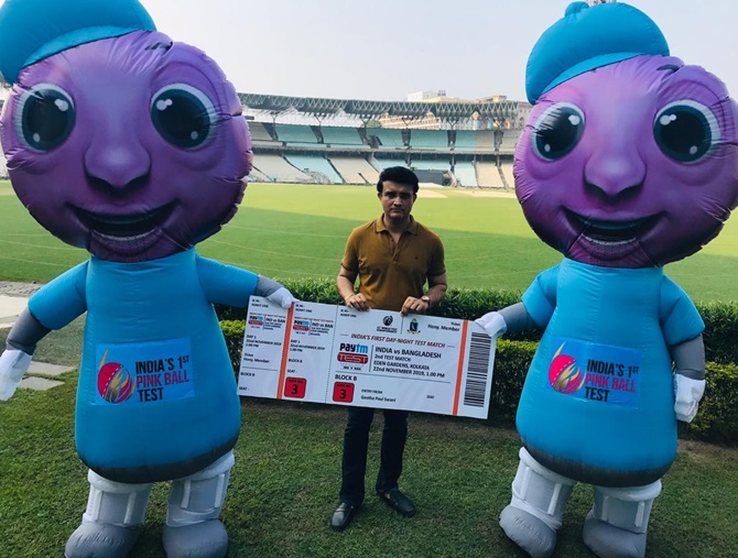 BCCI chief Sourav Ganguly with pink ball Test mascots, Pinku Tinku in Kolkata