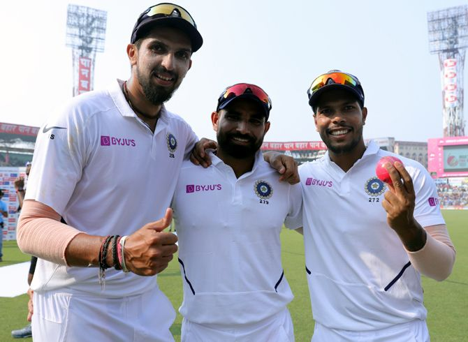 India's pacers Ishant Sharma, Mohammed Shami and Umesh Yadav took 19 wickets in the Kolkata day-night Test. Photograph: BCCI
