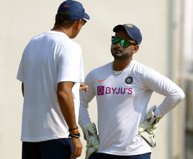 India head coach Ravi Shastri speaks to Rishabh Pant during a nets session