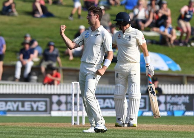 New Zealand's Matt Henry celebrates the wicket of England's Joe Denly on Saturday,  Day 2 of the second Test