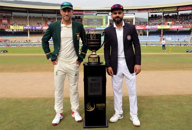 South Africa's Faf du Plessis and India's Virat Kohli before the toss, at the ACA-VDCA stadium, in Visakhapatnam.