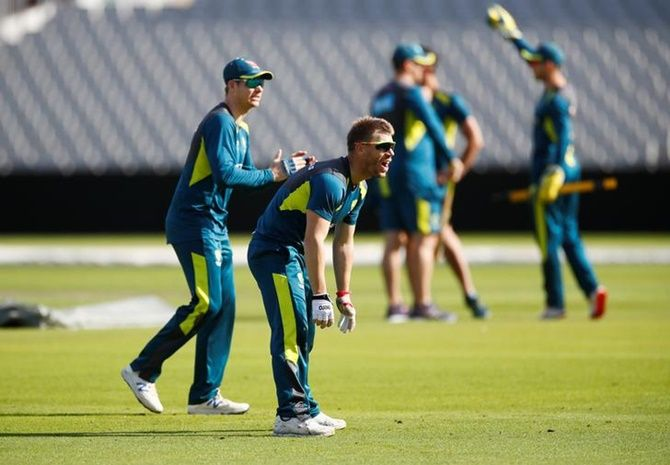 David Warner and Steve Smith during an Australia nets session.