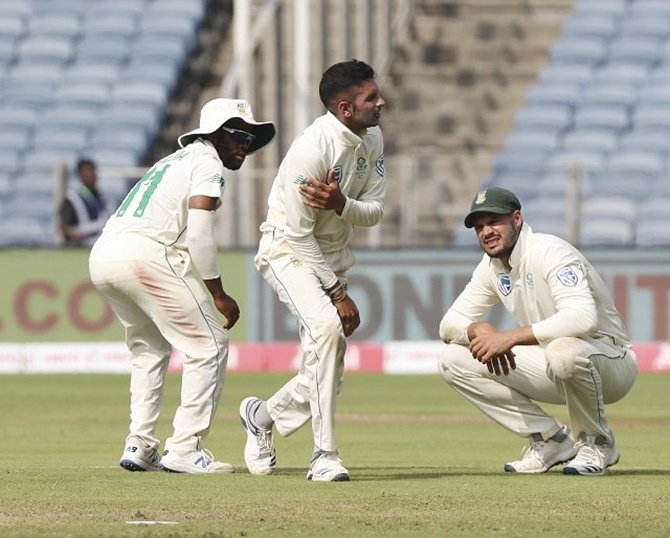 South Africa's left-arm spinner Keshav Maharaj has been sidelined from the 3rd Test due to a shoulder injury he picked up in the 2nd Test in Pune