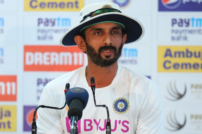 India's batting coach Vikram Rathour speaks to the media after Day 1 of the 3rd Test in Ranchi on Saturday