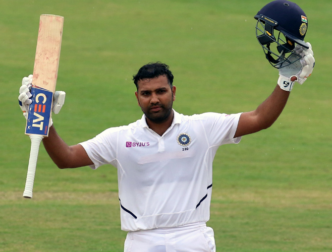 PHOTOS: Rohit's century powers India on Day 1