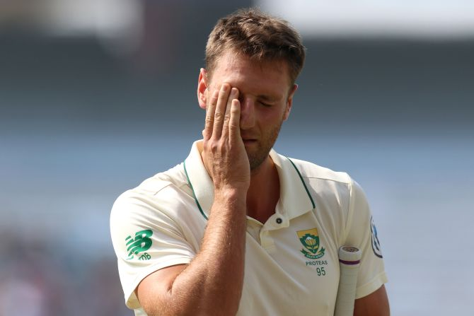 Theunis de Bruyn, who came in as the concussion substitute for Dean Elgar, was caught behind by wicketkeeper Saha for 30 and Lungi Ngidi was caught and bowled by Nadeem after his lofted straight shot hit non-striker Anrich Nortje and went straight to the bowler.