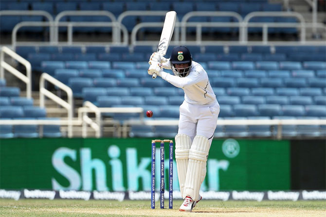India opener KL Rahul had to fend off some beautful bowling, especially from Kemar Roach, before safely batting till lunch