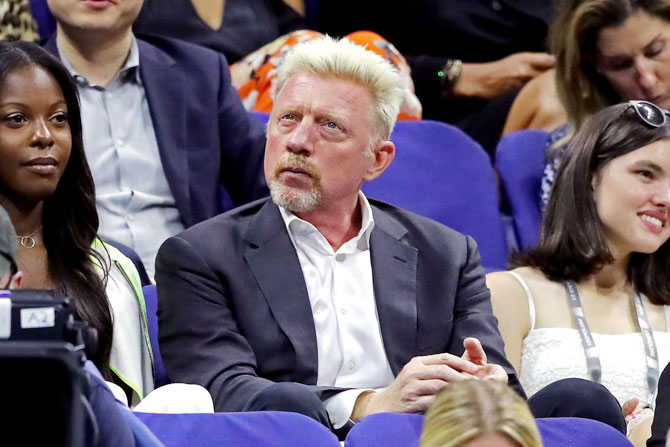 Muliple Grand Slam champion Boris Becker was present at the Roger Federer-Grigor Dimitrov quarter-final