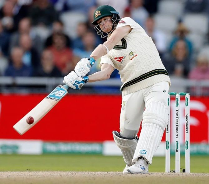 Smith scored 211 in the first innings, batting at times in chilly, blustering winds with frequent rain interruptions, and then 82 while his team mates struggled second time out