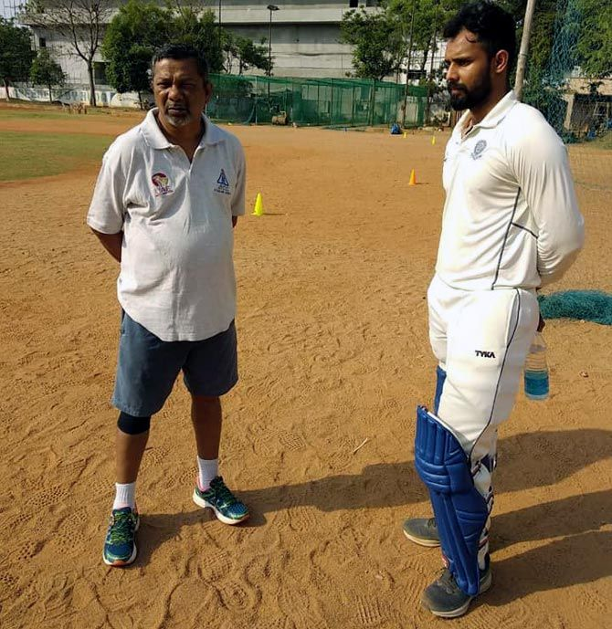 Hanuma Vihari, right, with his childhood coach John Manoj at the St John's Cricket Academy in Secunderabad. Photograph: Kind courtesy St John's Cricket Academy/Facebook