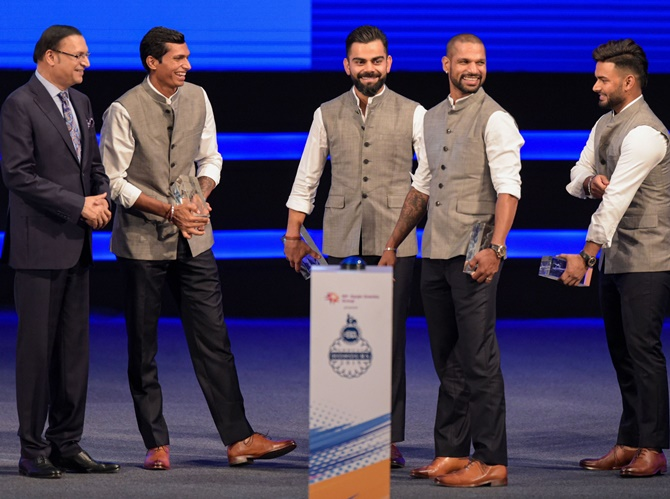 (From left), DDCA president Rajat Sharma, cricketers Navdeep Saini, Virat Kohli,Shikhar Dhawan and Rishabh Pant during a function to rename Feroz Shah Kotla stadium to Arun Jaitley Stadium