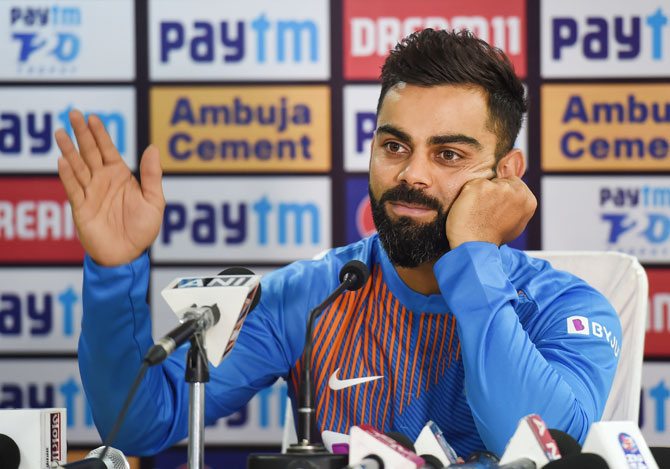 India captain Virat Kohli during a press conference in Dharamsala, on Saturday