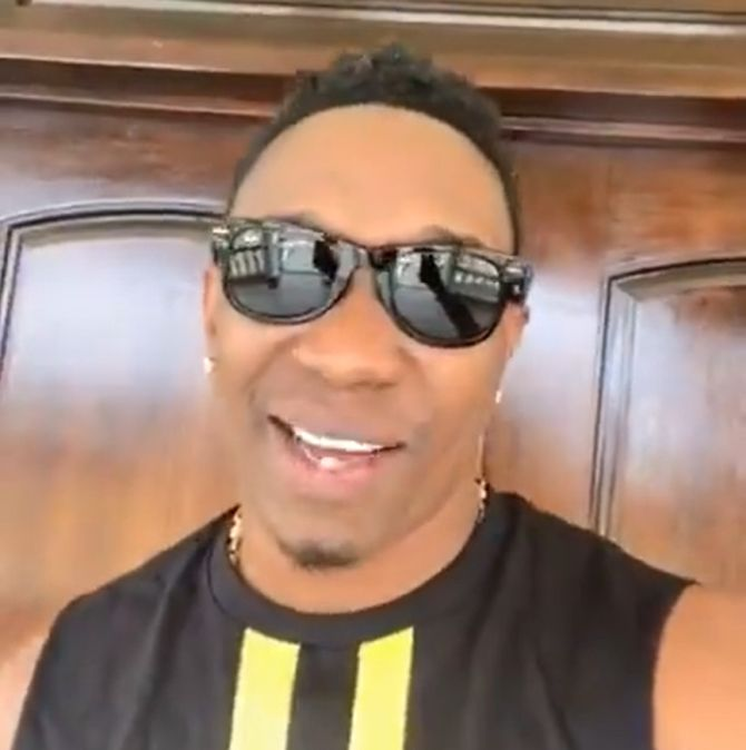 A video grab of Dwayne Bravo talking about the new song about MS Dhoni
