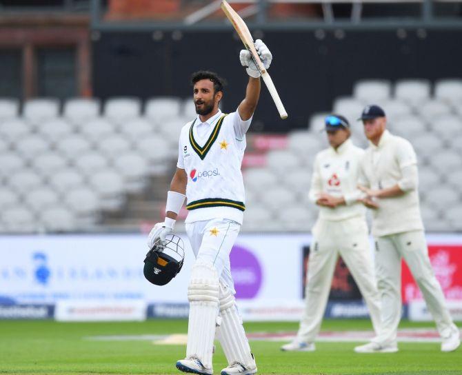 Shan Masood of Pakistan celebrates reaching his century