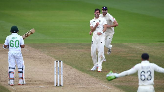 James Anderson celebrates after trapping Abid Ali LBW.