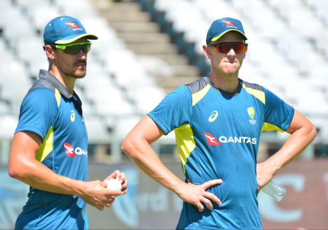 Australia pacers Mitchell Starc and Josh Hazlewood at a training session. Australia selector Trevor Hohns said the pace attack chosen for the SA tour has done the job for Australia on numerous occasions so the selectors just had to make sure the bowlers recovered sufficiently after the loss against India.