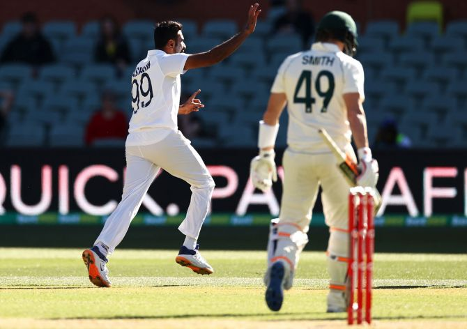Ravichandran Ashwin celebrates after dismissing Steve Smith