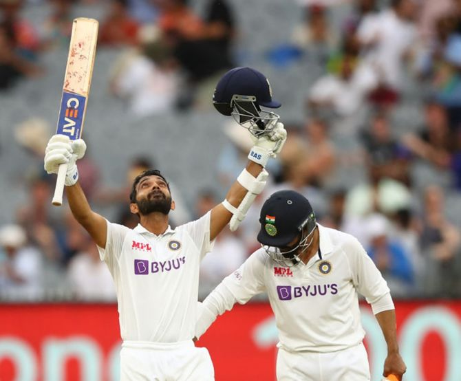 Ajinkya Rahane celebrates after getting to hundred on Day 2 of the second Test between Australia and India, at the Melbourne Cricket Ground